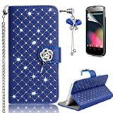 LG G3 Case – Sunroyal Bling 3D Handmade Diamond Glitter PU Leather Wallet Flip Case Cover with Bling Rose Magnetic & Card Holder Pouch [Stand ] with Metal Wrist Strap + Glass Screen Protector + Bow Anti Dust Plug For LG G3 (D855) - Blue