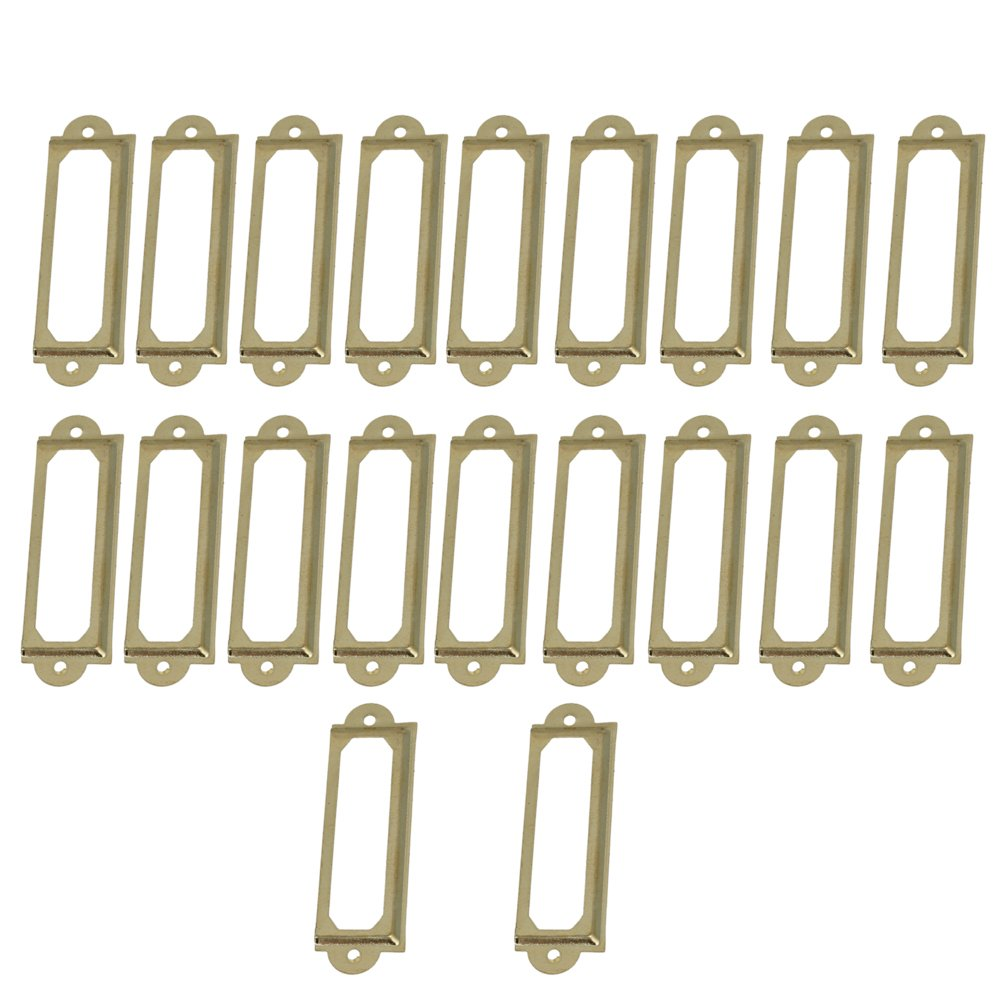 20PCS Yellow Retro Tag Label Frame Handle Card Holder Pull Drawer Jewelry Box