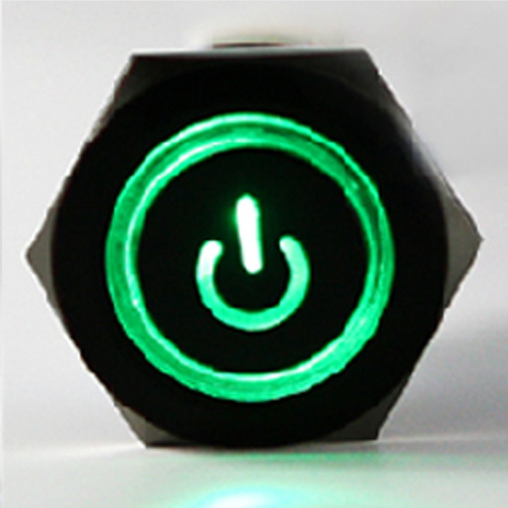 E Support Black 19mm 12v 5a Power Symbol Angel Eye Halo Car Green Led Toggle Switch Wiring Round Rocker Prewired In Light Metal Push Button Socket Plug Wire Cxcp103cp16