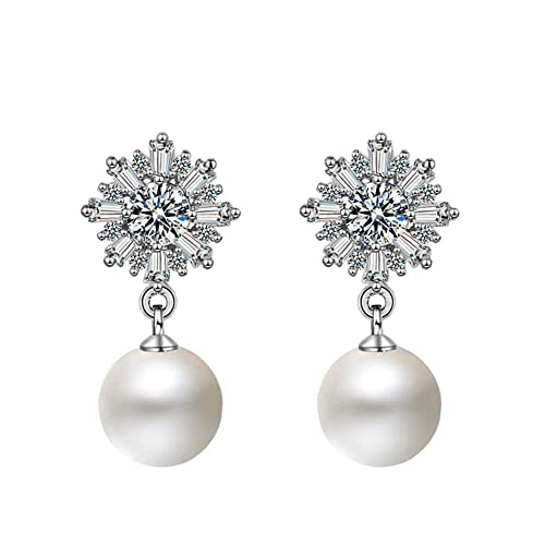 f58e7e9db Houlife Silver Rose Gold Tone Hypoallergenic Floral Snowflake Dangle Drop  Earring Stud with Shiny Cut Cubic Zirconia Imitation Pearl Ear Ring Holiday  Gift ...