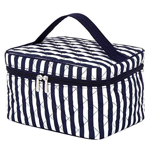 Cosmetic Organizer Stripes, Pataya Printing Geometrical Travel Train Case Makeup Bag Organizer for Girls (Blue Stripe) - Elephant Train