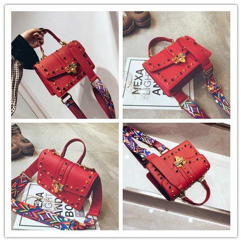 Rivet Sacs Bracelet à Rouge couleur de couleur épaule messager Sacs A Femme Design bandoulière 0qRdqf