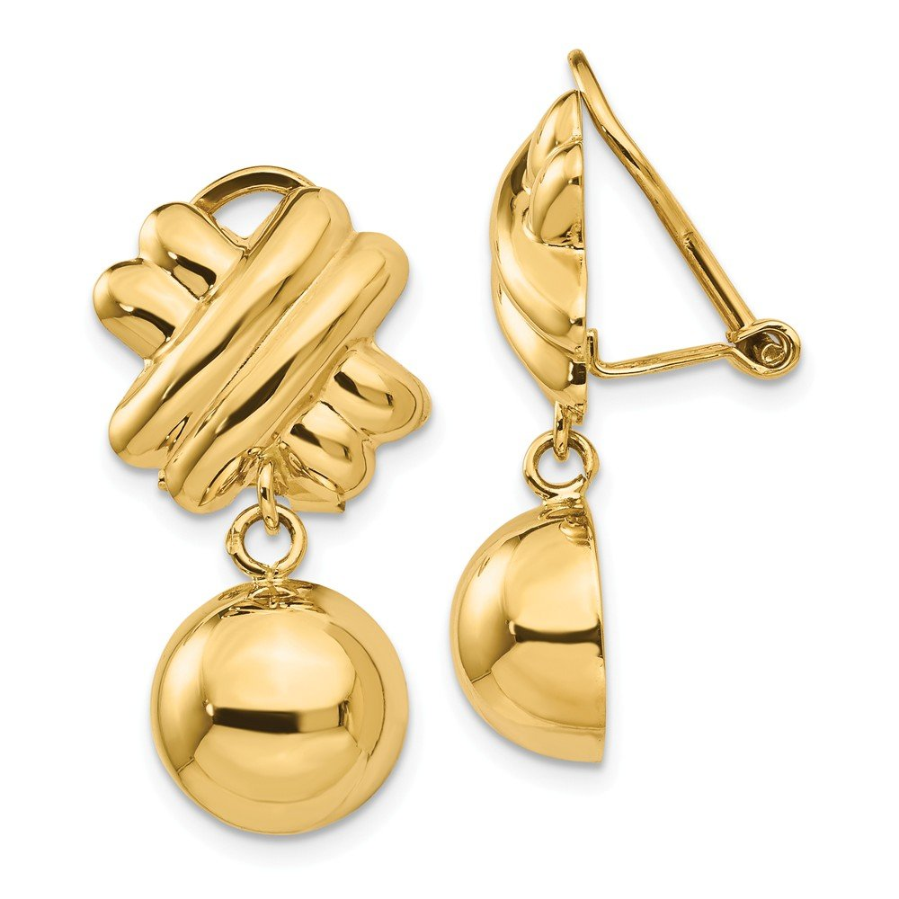 14k Yellow Gold Non Pierced Clip On Ball Earrings Fine Jewelry Gifts For Women For Her