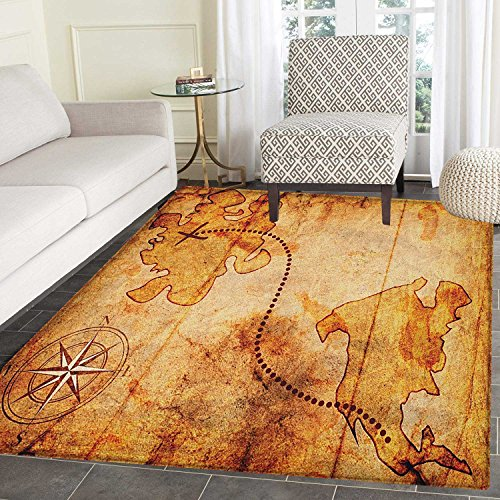 Compass Rugs for Bedroom Bohemian Style Treasure Hunt Map with Small Compass Paint on It Manuscript Atlas Finding Circle Rugs for Living Room 4'x6' -