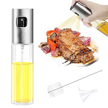 Pulverizador de Aceite, Mture Pulverizador de Vinagre/Aceite / Oliva Dispensador, Acero Inoxidable Botella de Vidrio para Cocinar/Ensalada /Hornear ...