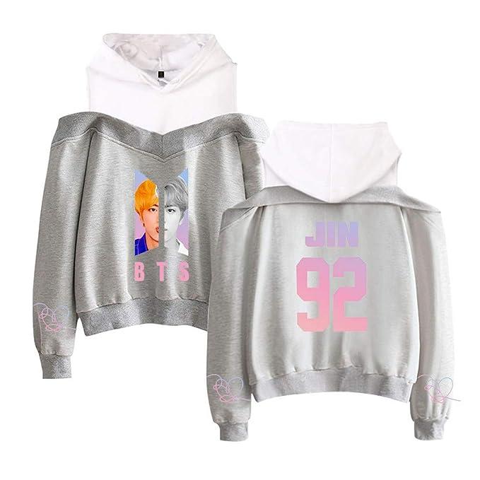 BTS Mujer Sudaderas con Capucha Ocasionales Suéter Estampados Hipster Sweatshirts Sin Tirantes Jerseys Elegantes Camisetas de Manga Larga: Amazon.es: Ropa y ...