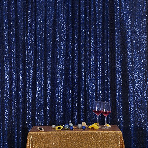 Eternal Beauty Navy Blue Sequin Wedding Backdrop Photography Background Party Curtain, 10Ft X 10Ft