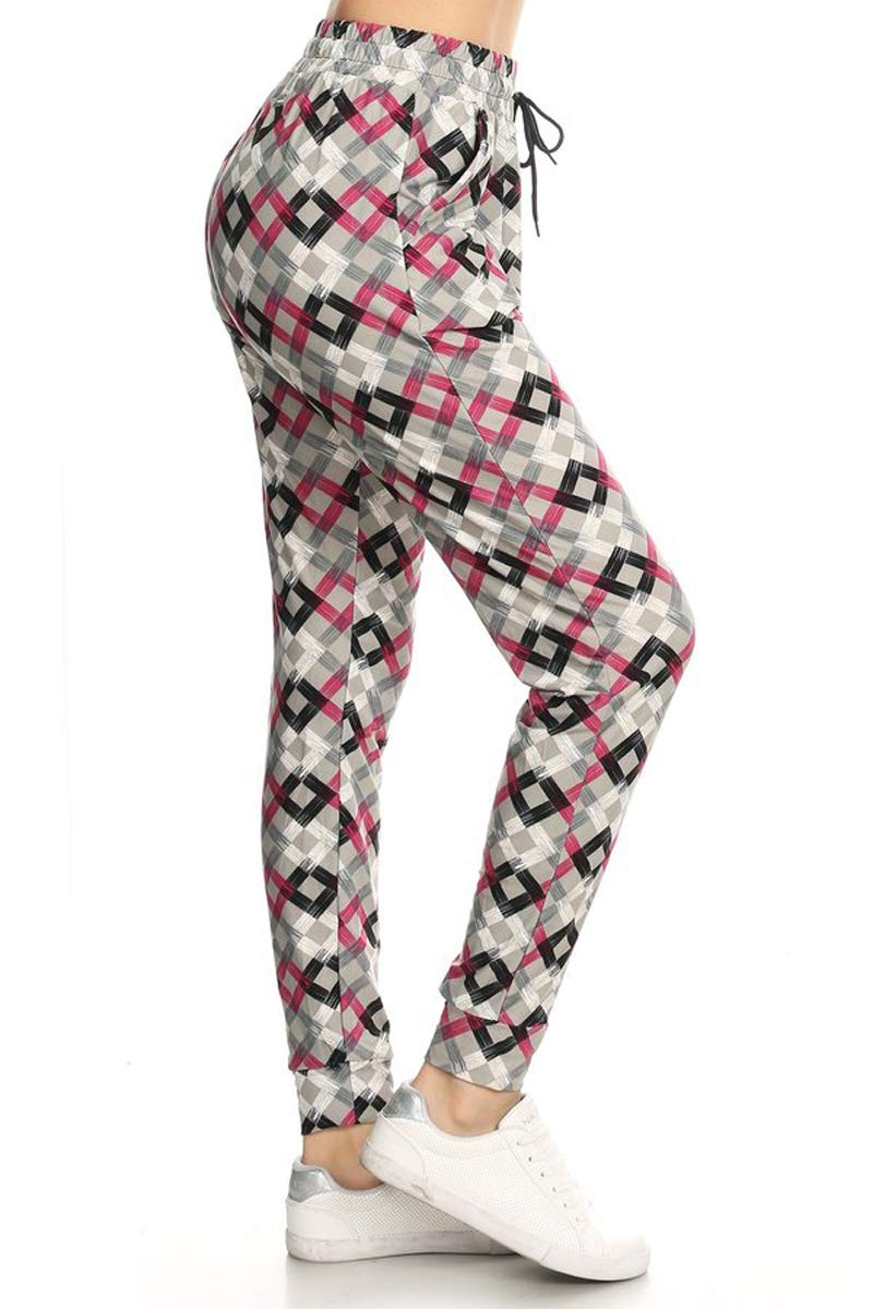 JGA-S583-L Modern Culture Print Jogger Track Pants w/Pockets, Large by Leggings Depot