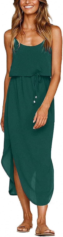 OURS Women's Casual Adjustable Spaghetti Straps Sleeveless Split Beach Midi Dresses