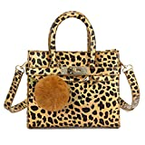 CMK Trendy Kids Python Grain Crossbody Handbags Purses for Girls With Rhinestone Sheep (80013_Leopard brown)