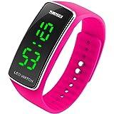 DDLBiz® Uomo Donna Moda silicone LED di sport del braccialetto di tocco Orologio da polso digitale (rosa caldo)