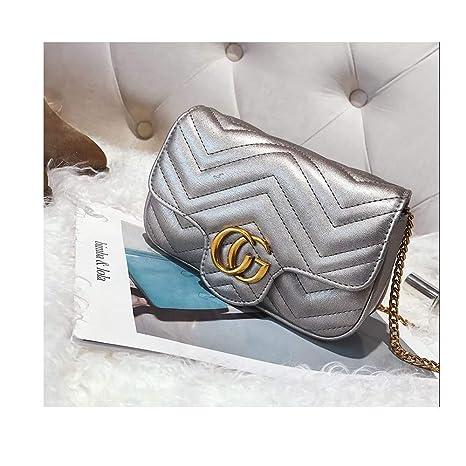 a2873e32b9912 Amazon.com: CG Marment matelassé Leather Super Mini Bag Small Crossbody  Purse Handbags Chain Flap Shoulder Bag -Silver: Computers & Accessories