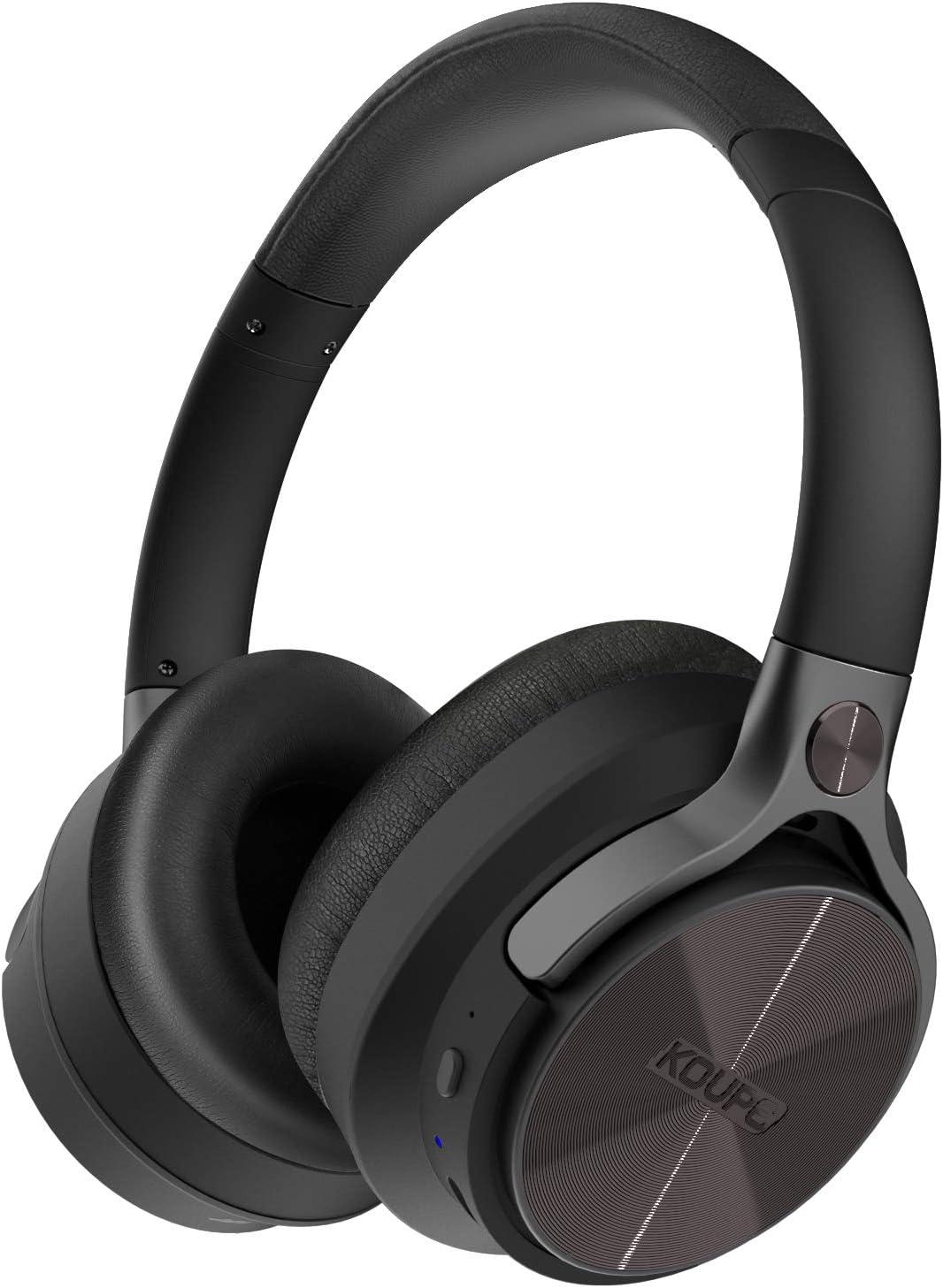 Active Noise Cancelling Bluetooth Headphones, Koupe Mardi Gras ANC Headset Over Ear Crisp Powerful Deep Bass Sound, Music Uninterrupted with Soft Ear Cushions Adjustable Headband Swiveling Earcups