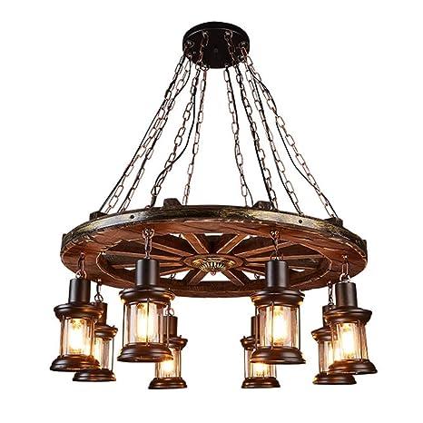 lámpara colgante retro, lámpara industria de la rueda de madera de ...