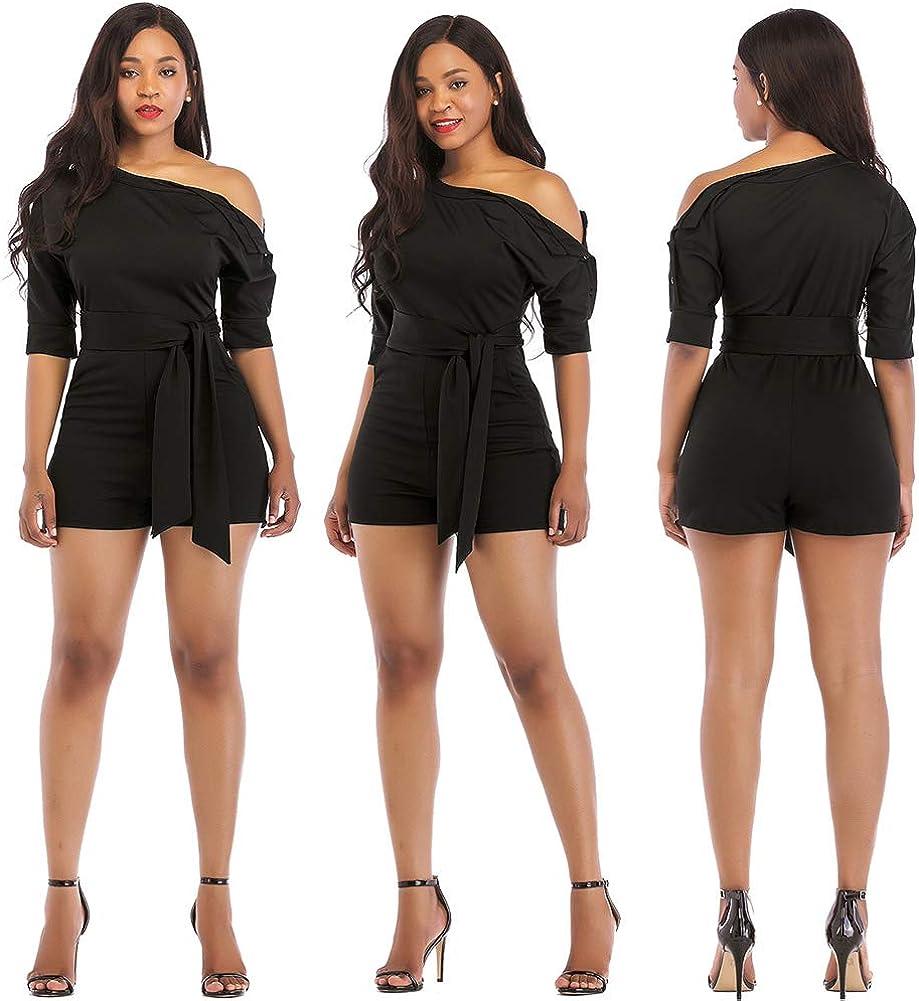 Sprifloral Womens Short Plus Size Romper Elegant One Shoulder Jumpsuit with Pockets