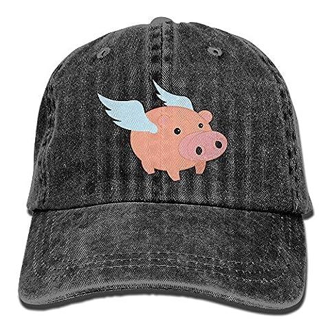 Vintage Flying Pig Fashion Printed Baseball Cap Trucker Hat Peaked Cap With Adjustable Closure - Pink Pig Hat