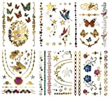 Metallic Mermaid Butterfly Temporary Tattoos - Over 75 Designs, Colorful Gold Silver Fairies