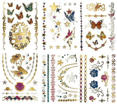 Metallic Mermaid Butterfly Temporary Tattoos - Over 75 Designs, Colorful Gold Silver Fairies Flowers (6 Sheets) Terra Tattoos Bella -