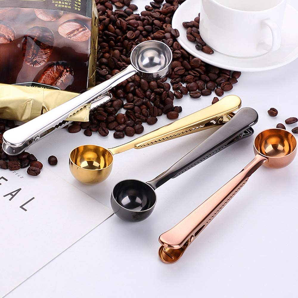 Coffee Measuring Spoon Scoop /& Bag Sealing Clip Stainless Steel V3O4 V8P7