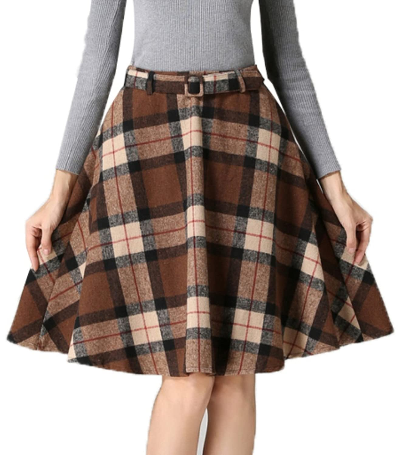 1940s Style Skirts- High Waist Vintage Skirts Sankill Womens High Waisted Wool Check Print Plaid Aline Skirt $21.99 AT vintagedancer.com