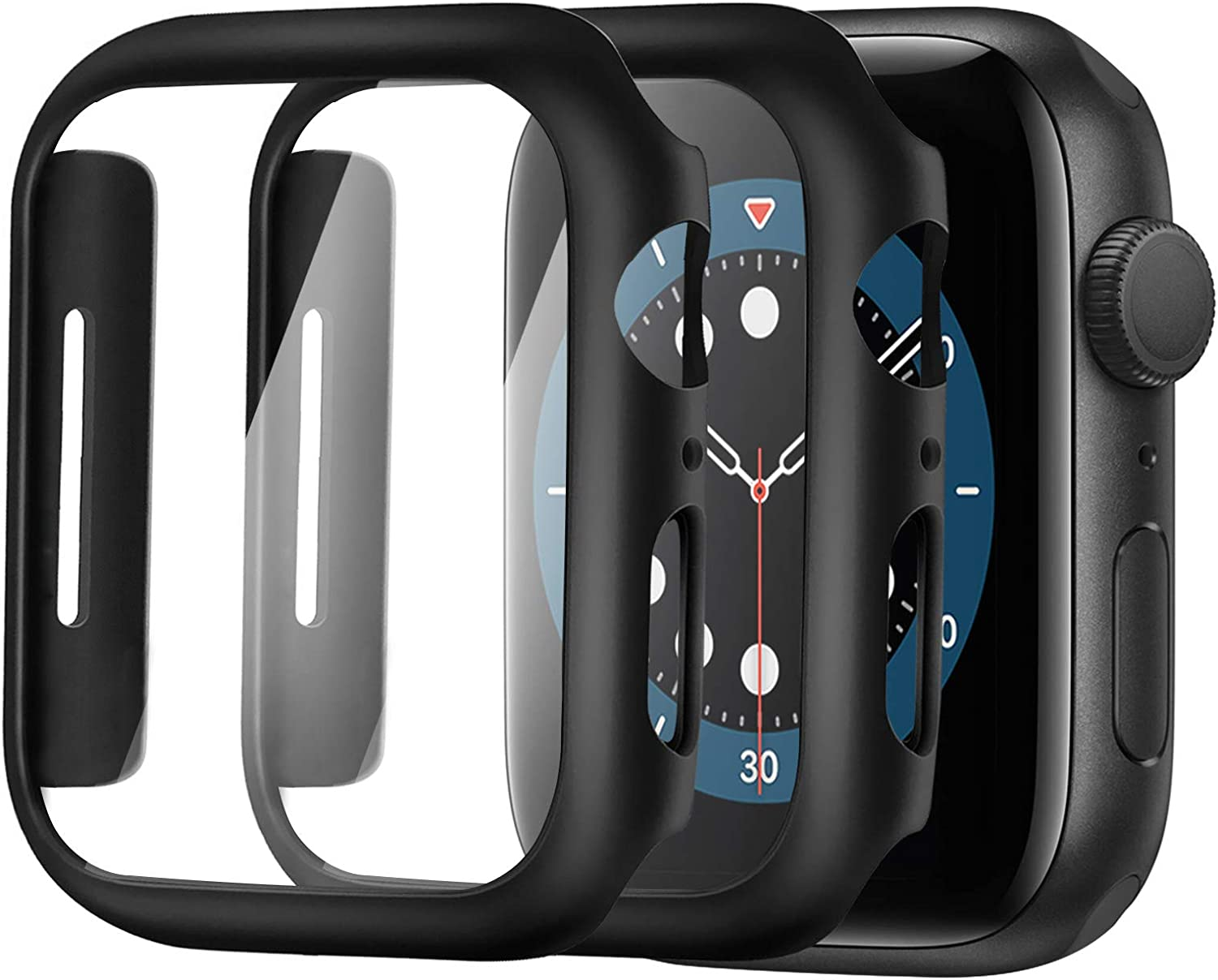 Alinsea Screen Protector for Apple Watch 40mm Series 4/5/6/ SE Tempered Glass [2 Pack] [Full Coverage] Bumper Hard Case [with Screen Protector Built-in] Overall Protective Cover-Black