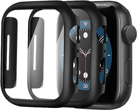 واقي شاشة Alinsea لساعة Apple Watch 40mm Series 4/5/6/ SE من الزجاج المقسى [عبوتان] [تغطية كاملة] جراب صلب ممتص للصدمات [مع واقي شاشة مدمج] غطاء واقي شامل، أسود