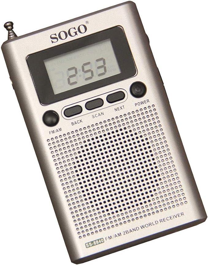 SOGO SS-8840 Radio Digital Am/FM de Bolsillo, Portátil, Sintonizador Automático, Altavoz Incorporado, Reloj Alarma: Amazon.es: Electrónica