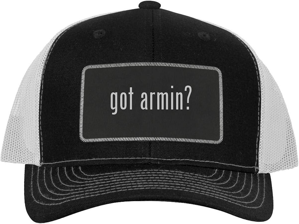 One Legging it Around got Armin - Leather Black Metallic Patch Engraved Trucker Hat 61yLWJjZEZL