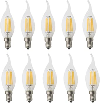 JCKing 10-Pack AC 220V E14 6W LED Filamento regulable Bomba de luz de punta de llama de época, Bombillas incandescentes de 60W Reemplazo para Candelabro Blanco cálido: Amazon.es: Iluminación