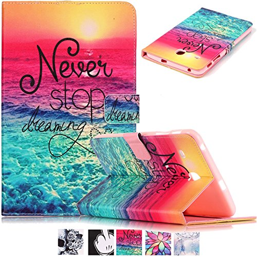 UUcovers Galaxy Tab E 8.0 Case Slim Stand Soft TPU Flip Case Wallet Cover with Card Slots for Samsung Galaxy Tab E 8.0 SM-T377 4G LTE Verizon/SM-T375 Tablet,Never Stop