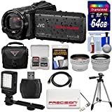JVC Everio GZ-R440 Quad Proof Full HD Digital Video Camera Camcorder (Black) + 64GB Card + Case + Power Bank + Tripod + LED Light + Tele/Wide Lens Kit