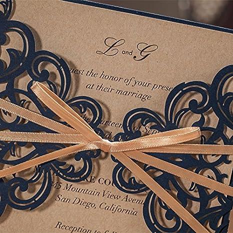 wishmade Hochzeit Einladungen Kits Set mit Wei/ß Blume Muster Karten f/ür Geburtstag Bridal Dusche Ehe Navy Blue with Ribbon