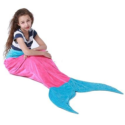 geekbuzz Fuzzy felpa cola de sirena manta polar saco de dormir regalos para niñas edad 3