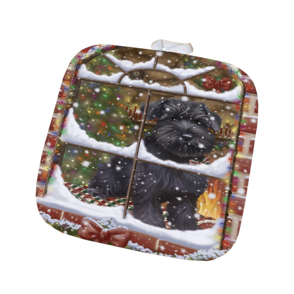 Please Come Home For Christmas Schnauzer Dog Sitting In Window Pot Holder POT48415
