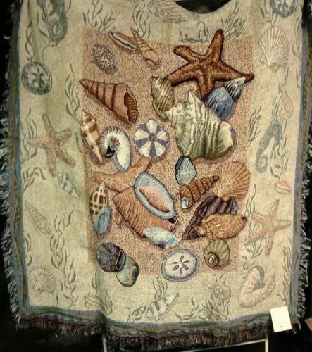 Simply Home Seashell Collection Beachside Tapestry Throw Blanket 50