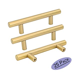 "Goldenwarm 25pcs Brushed Brass Kitchen Cabinet Hardware Handle 1/2"" Diameter T Bar Handles Furniture Gold Door Drawer Pulls Knobs Hole Spacing 76mm 3in"