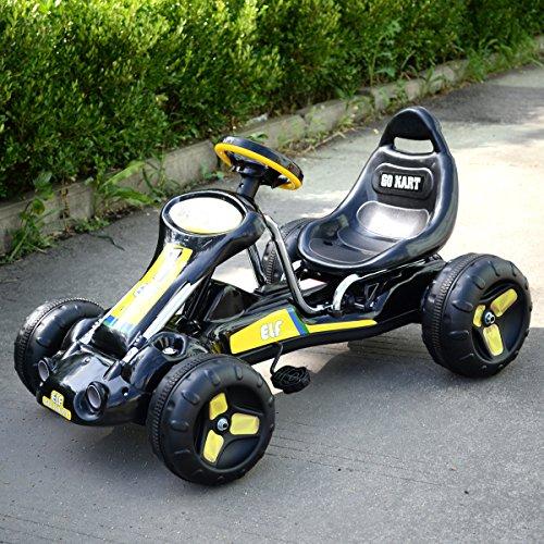 JAXPETY Go Kart Kids Ride 4 Wheel on Car Stealth Pedal Powered Outdoor Racer Black - Go Cart Racer