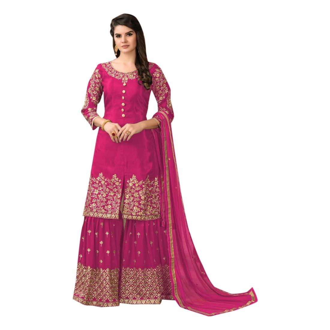 Pink Bollywood Designer Upada Silk Garara Suit Indian Muslim Ethnic Women dress Party wear Semistitch 7936