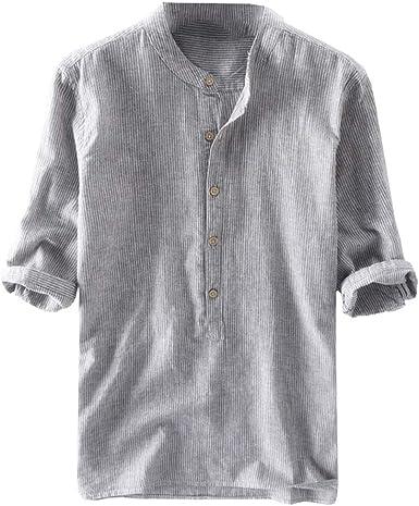 Hombre Raya Camisa Retro Henley Camisa Cuello En V Botón Camisetas Verano Casual Tops Elegante Negocios Basicas Superior Tamaño Grande M-4XL: Amazon.es: Ropa y accesorios