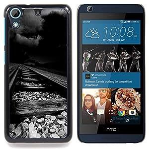 Stuss Case / Funda Carcasa protectora - Desgastado ferrocarril tormenta Oscuro Negro - HTC Desire 626
