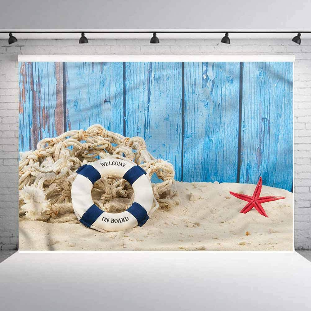 6x6FT Vinyl Wall Photography Backdrop,Buoy,Beach Coastline Welcome Background for Baby Birthday Party Wedding Graduation Home Decoration