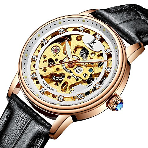 Bestn Wristwatches Women's Skeleton Crystal Auto Black PU Leather Mechanical (Automatic Leather Ladies Watch)