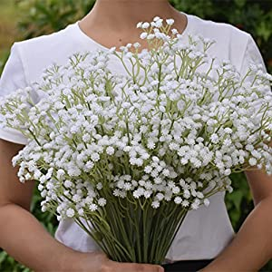 Meiliy 10pcs Gypsophila Artificial Flowers Plastic Baby Breath Fake Flowers for Home Wedding Office Party Decoration, 23.6'' 2