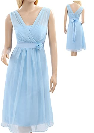 Bampo Light Sky Blue Front And Back V-Neck Chiffon Bridesmaid Dress For Short Prom