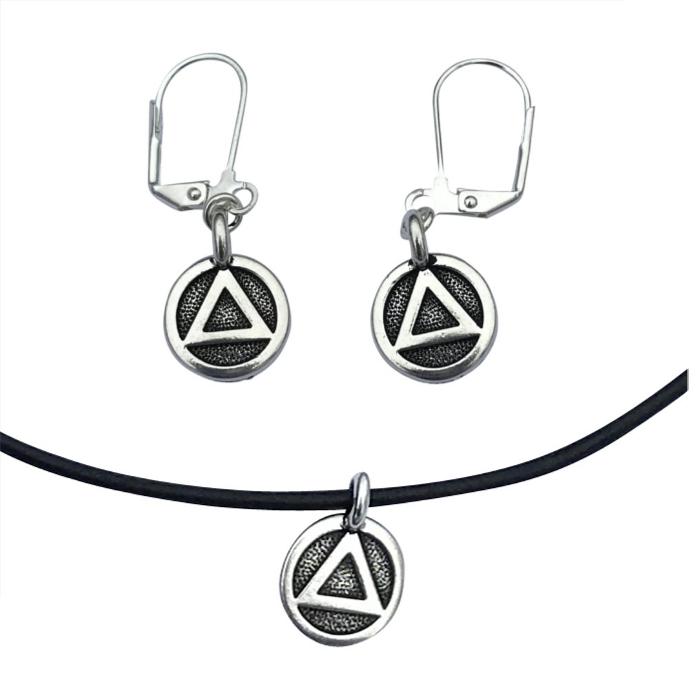 AA Sobriety Recovery Triangle Charm Necklace & Earrings, Silver Plated Black Leather Adjustable 16-18''
