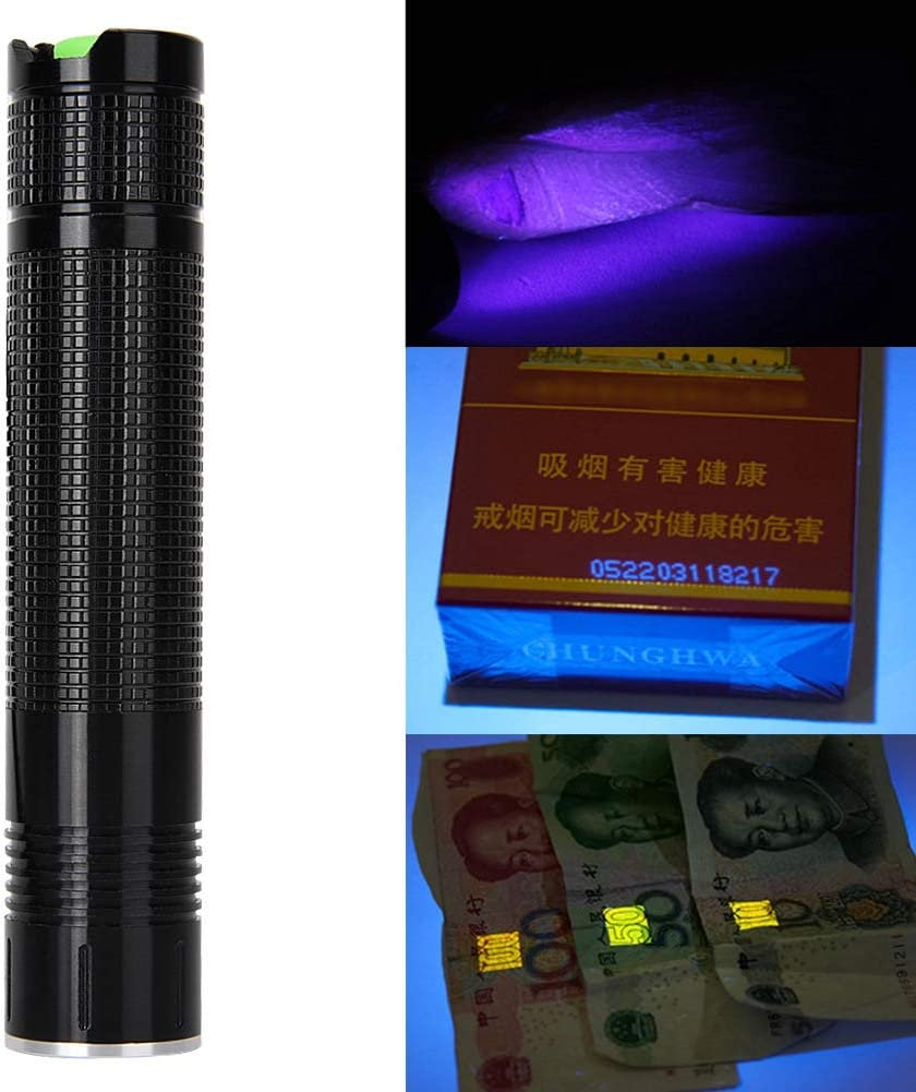 sin bater/ía Aluminio Fluorescencia Dinero Fluorescente /Ámbar M/áscara cosm/ética Detector falsificado L/ámpara de antorcha Riuty 365nm LED UV Linterna Gold Pluma UV