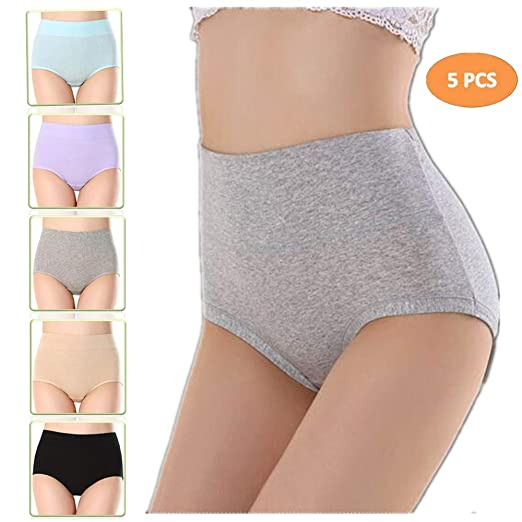 b6c44aefce smart sisi 5-Pack Womens Plus-Size High Waist Cotton Briefs Underwear