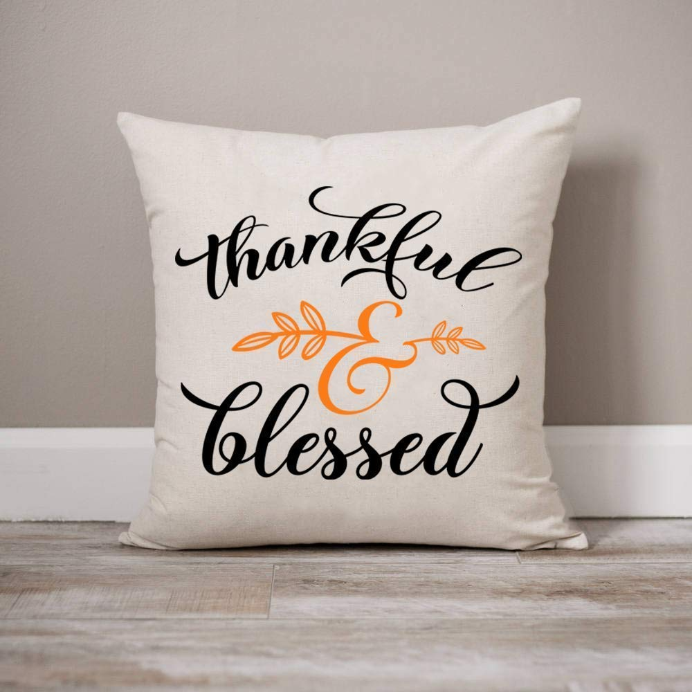 Thankful and Blessed Pillow Cover Nature Decorative Pillow Cover Farmhouse Rustic Decor Decorative Throw Pillows 16 x 16 Inch Winter Holiday Rustic Farmhouse Linen Cushion Case for Sofa Couch