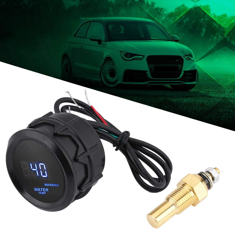 Qiilu Water Temp Gauge Digital Temperature Fahrenheit Gauge Kit 2 Inch 52mm Blue LED with Temp Sensor for Car Automotive