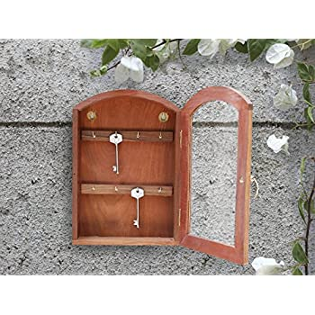 Store Indya U2013 Wooden Key Cabinet With 8 Hooks U2013 Wall Mounted Key Holder Box  U2013